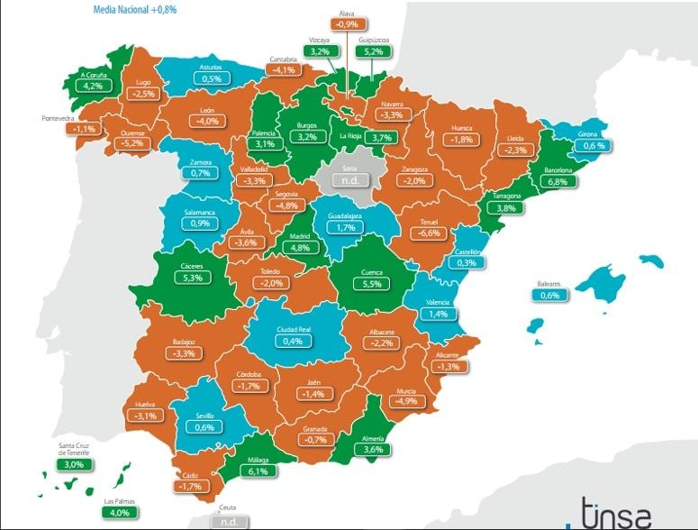 Los precios interanuales por provincias según el índice Tinsa
