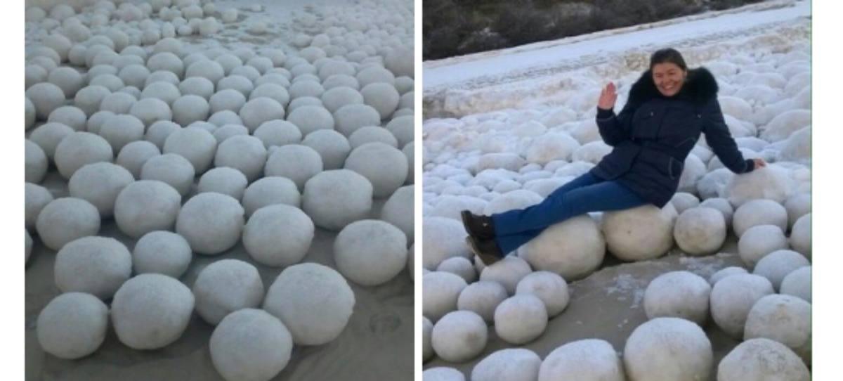 Fotos: Cientos de bolas de nieve cubren una playa de Siberia