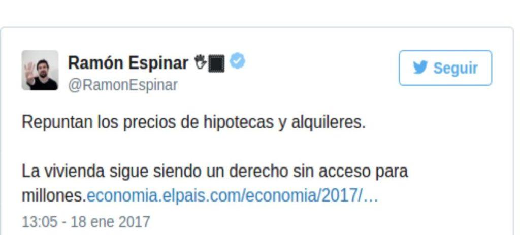 Espinar la vuelve a liar en Twitter por un comentario sobre la vivienda