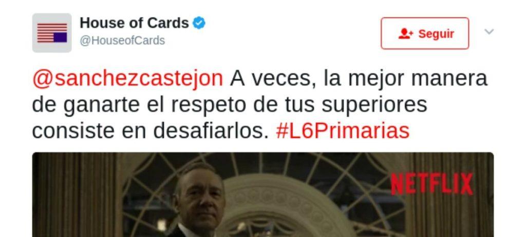 El tuit de 'House of Cards' a Pedro Sánchez se vuelve viral