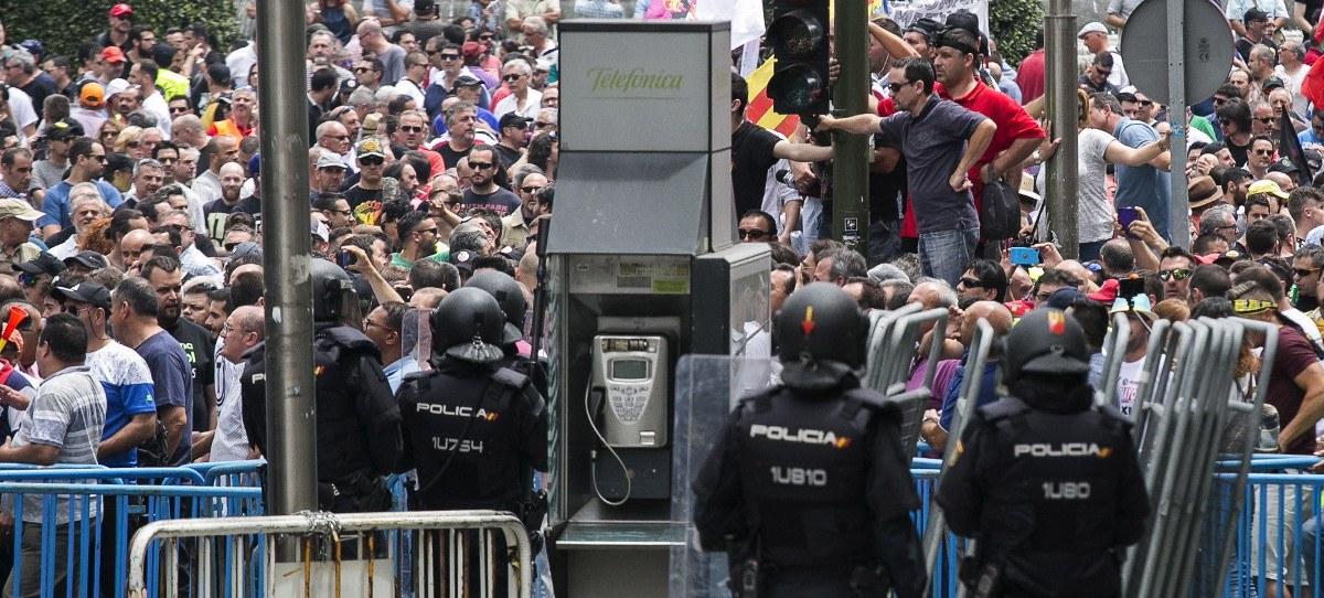 Huelga de taxistas en Madrid en mayo.