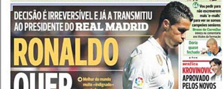Cristiano Ronaldo quiere marcharse del Real Madrid, según A Bola