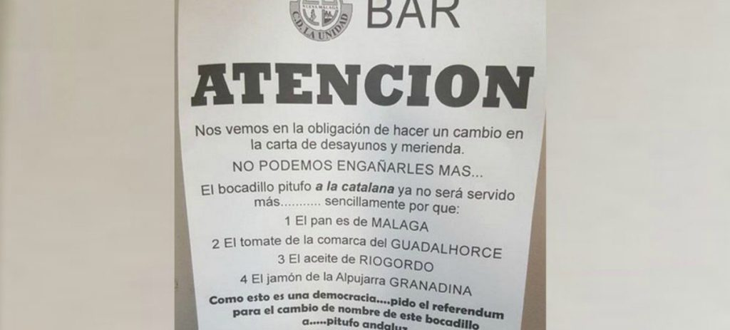 El mensaje viral de un bar malagueño: Propone cambiar el 'pitufo a la catalana' por el 'andaluz