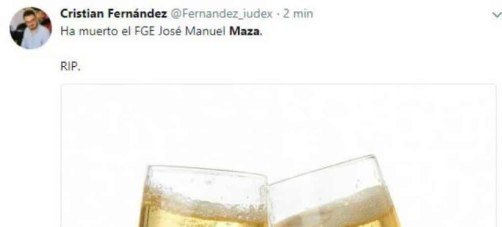El dirigente de Podemos en Cataluña Cristian Fernández y otros tuits indignantes tras la muerte de Maza