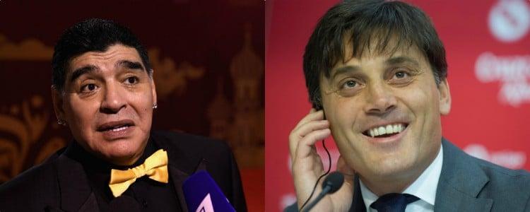 Maradona atiza al Sevilla por echar a Berizzo y fichar a Montella