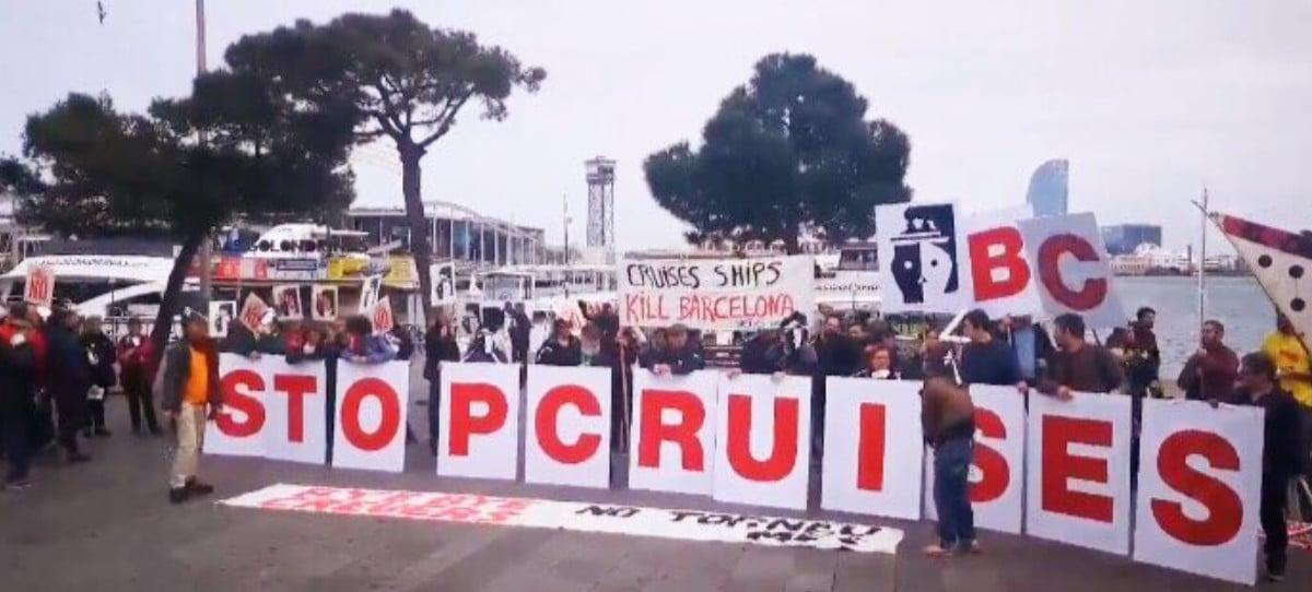 Turismofobia en Barcelona ante la llegada del mayor crucero del mundo