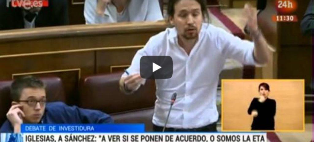 """Pablo Iglesias a Pedro Sanchez en 2016: """"Felipe González tiene el pasado manchado de cal viva"""""""